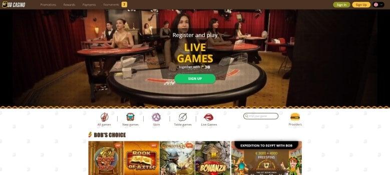 Website van Bob Casino