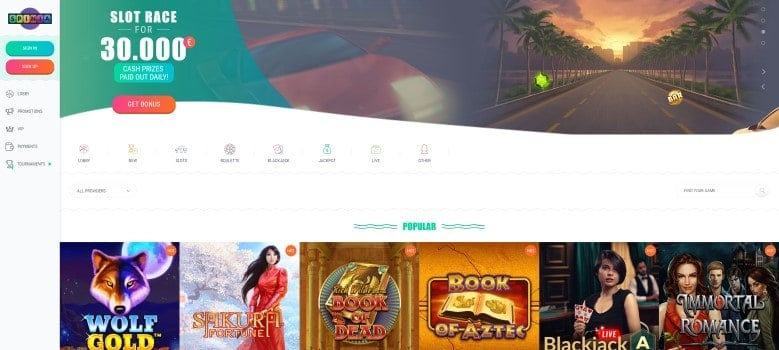 Website van Spinia Casino